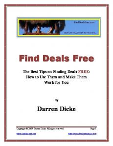 The Best Tips on Finding Deals FREE: How to Use Them and Make Them Work for You Darren Dicke