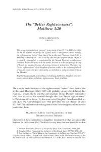 The Better Righteousness : Matthew 5:20