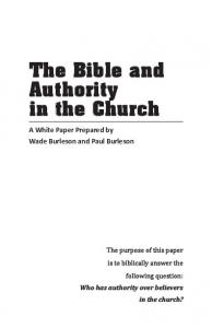 The Bible and Authority in the Church