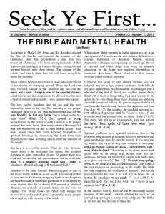 THE BIBLE AND MENTAL HEALTH Tom Moore
