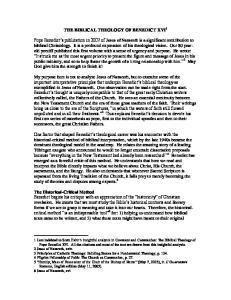 THE BIBLICAL THEOLOGY OF BENEDICT XVI 1