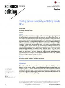 The big picture: scholarly publishing trends 2014