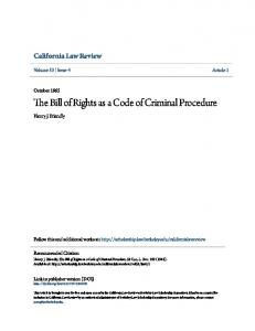 The Bill of Rights as a Code of Criminal Procedure