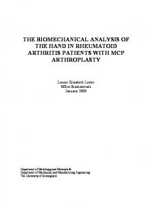 THE BIOMECHANICAL ANALYSIS OF THE HAND IN RHEUMATOID ARTHRITIS PATIENTS WITH MCP ARTHROPLASTY