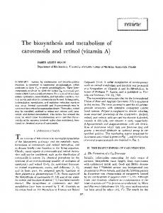 The biosynthesis and metabolism of