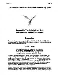 The Blessed Person and Work of God the Holy Spirit