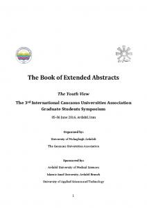 The Book of Extended Abstracts