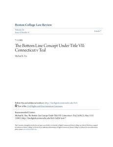 The Bottom Line Concept Under Title VII: Connecticut v Teal