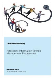 The British Pain Society. Participant Information for Pain Management Programmes