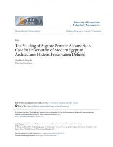 The Building of Auguste Perret in Alexandria: A Case for Preservation of Modern Egyptian Architecture: Historic Preservation Defined
