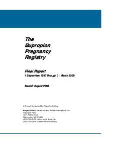 The Bupropion Pregnancy Registry