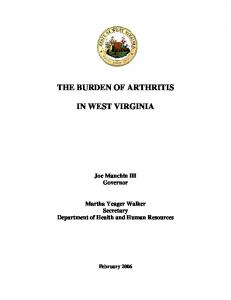 THE BURDEN OF ARTHRITIS IN WEST VIRGINIA