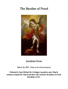 The Burden of Proof. Jonathan Knox. March 26, Feast of the Annunciation