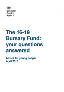 The Bursary Fund: your questions answered
