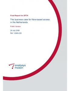 The business case for fibre-based access in the Netherlands