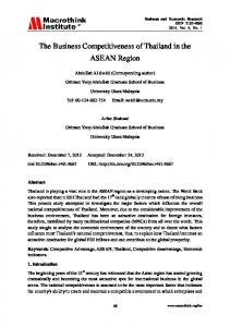 The Business Competitiveness of Thailand in the ASEAN Region