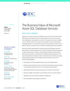 The Business Value of Microsoft Azure SQL Database Services