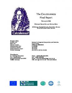 The Calculemus Final Report