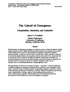 The Calculi of Emergence: