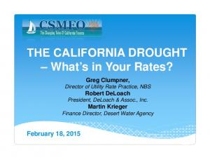 THE CALIFORNIA DROUGHT What s in Your Rates?