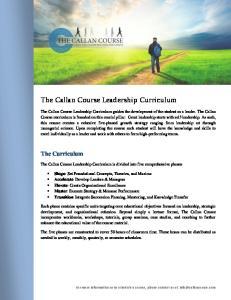 The Callan Course Leadership Curriculum