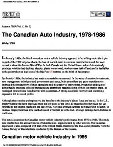 The Canadian Auto Industry,