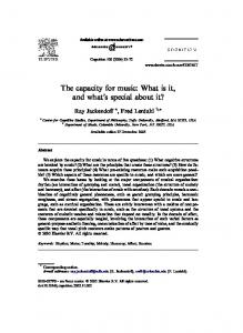 The capacity for music: What is it, and what s special about it?