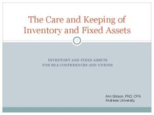 The Care and Keeping of Inventory and Fixed Assets