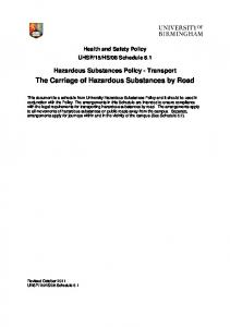 The Carriage of Hazardous Substances by Road