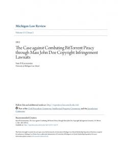 The Case against Combating BitTorrent Piracy through Mass John Doe Copyright Infringement Lawsuits
