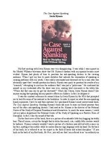 The Case Against Spanking Irwin Hyman
