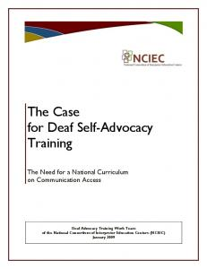 The Case for Deaf Self-Advocacy Training. The Need for a National Curriculum on Communication Access