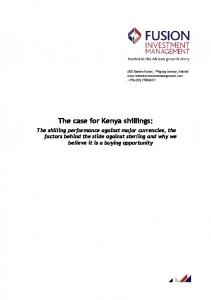 The case for Kenya shillings: