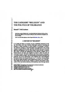 THE CATEGORY RELIGION AND THE POLITICS OF TOLERANCE