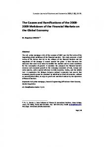 The Causes and Ramifications of the Meltdown of the Financial Markets on the Global Economy