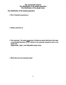The central limit theorem The distribution of the sample proportion The distribution of the sample mean