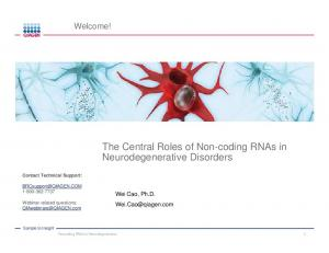 The Central Roles of Non-coding RNAs in Neurodegenerative Disorders