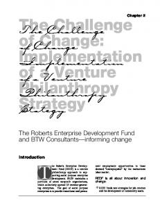 The Challenge of Change: Implementation