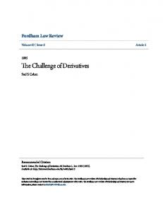 The Challenge of Derivatives