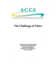 The Challenge of Ethics