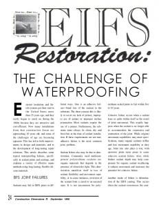 THE CHALLENGE OF WATERPROOFING