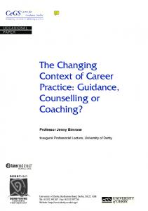 The Changing Context of Career Practice: Guidance, Counselling or Coaching?