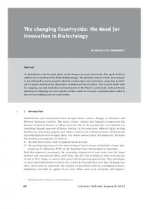 The changing Countryside: the Need for Innovation in Dialectology