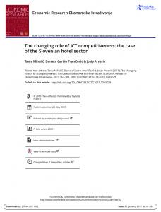 The changing role of ICT competitiveness: the case of the Slovenian hotel sector