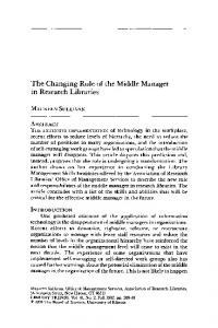 The Changing Role of the Middle Manager in Research Libraries