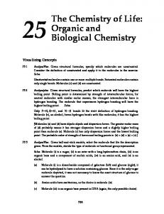 The Chemistry of Life: Organic and Biological Chemistry