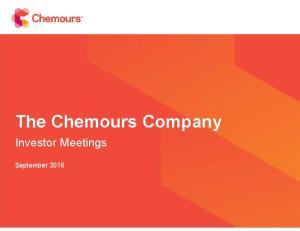 The Chemours Company. Investor Meetings. September 2016