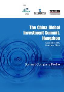 The China Global Investment Summit: Hangzhou