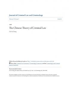 The Chinese Theory of Criminal Law