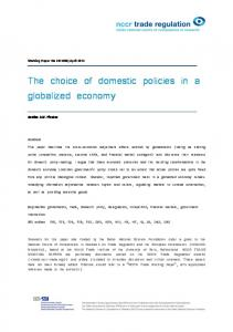 The choice of domestic policies in a globalized economy